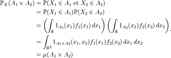 \begin{align} \mathbb{P}_{X}(A_1\times A_2) &= \mathbb{P}(X_1\in A_1\text{ et }X_2\in A_2)\\ &= \mathbb{P}(X_1\in A_1)\mathbb{P}(X_2\in A_2)\\ &= \left(\int_{\R} 1_{A_1}(x_1)f_1(x_1) \, dx_1\right)\left(\int_{\R} 1_{A_2}(x_2)f_2(x_2) \, dx_2\right)\\ &= \int_{\Rˆ2} 1_{A_1\times A_2}(x_1,x_2)f_1(x_1)f_2(x_2) \, dx_1 \, dx_2\\ &= \mu(A_1\times A_2)\end{align}.